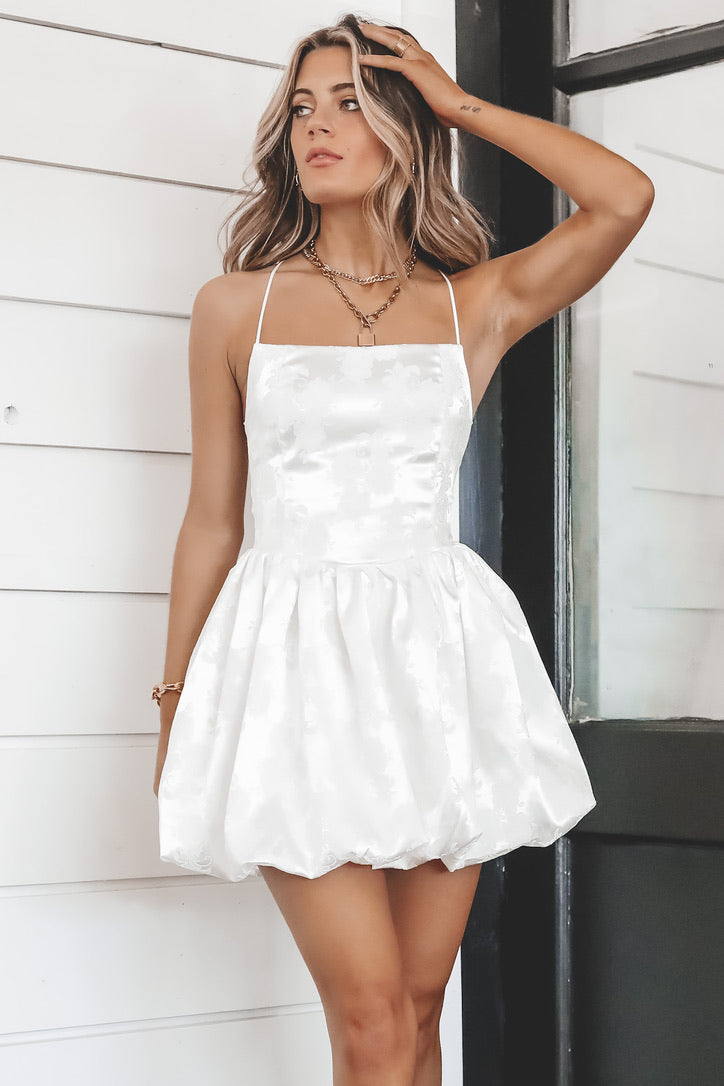 Make You See Satin White Dress