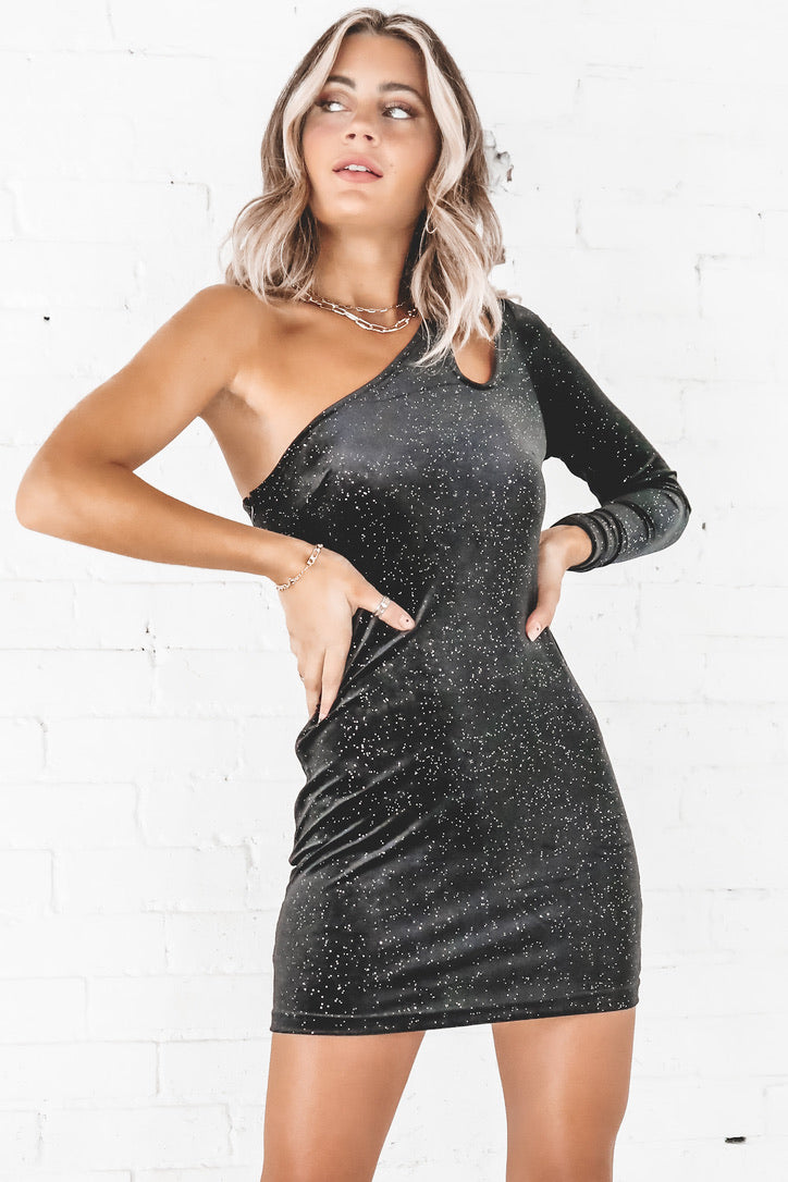 Sparkle On Your Shoulder Velvet One Shoulder Dress