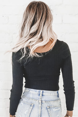Laid Back Long Sleeve Black Top