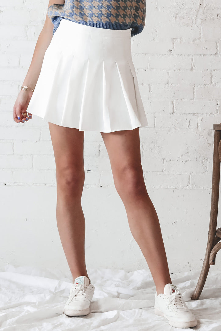 It's A Match White Tennis Skirt