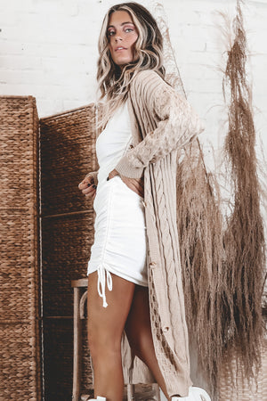 Cold Nights Camel Long Cardigan