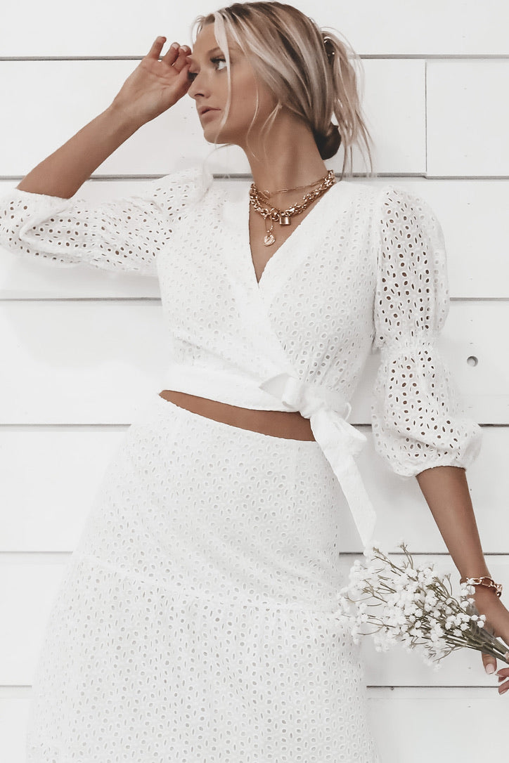 MINKPINK Juliana Anglaise White Wrap Top