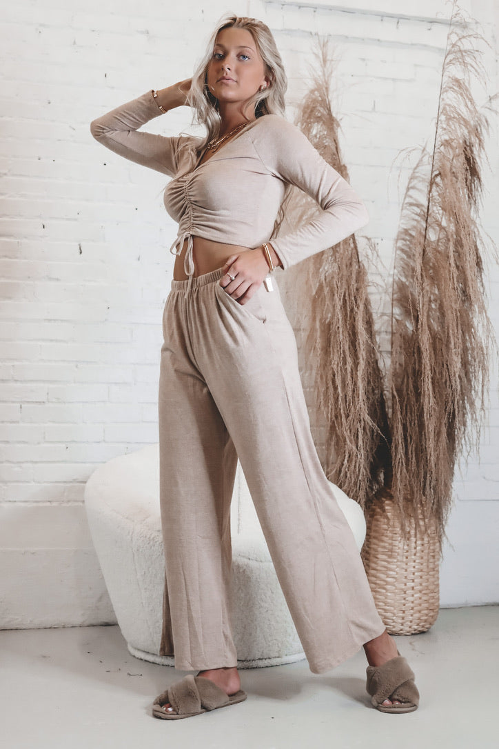 Doll Face Dusty Pink Wide Leg Pant