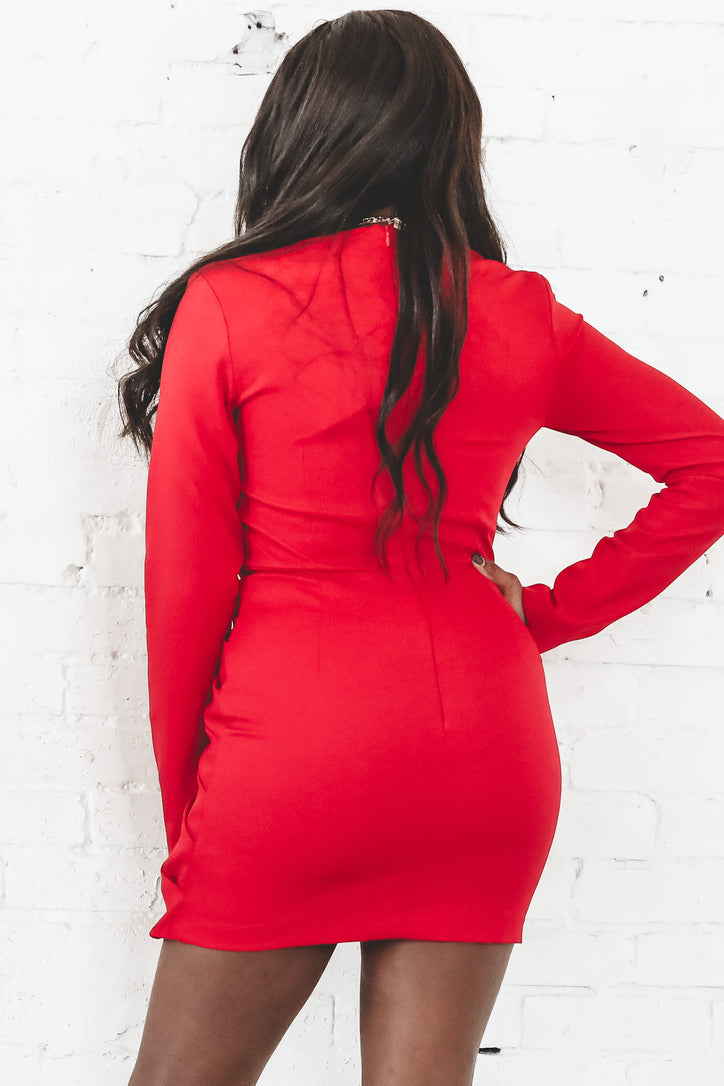 To The Nines Red Ruched Dress