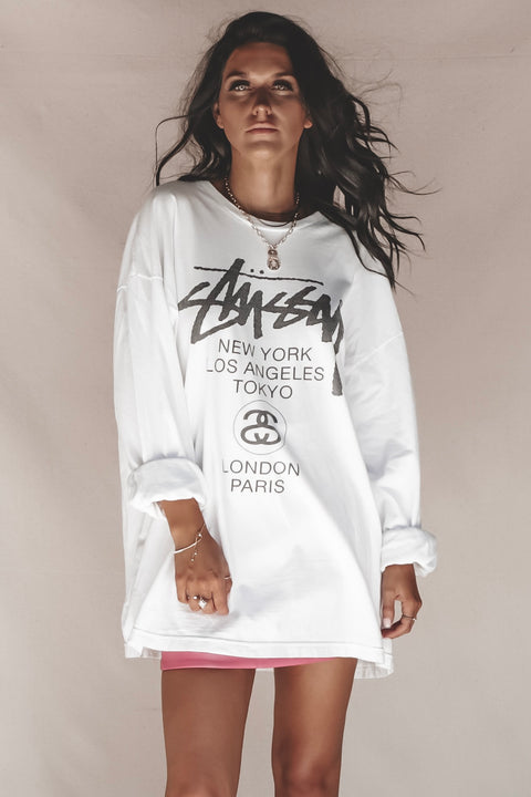 VINTAGE White Long Sleeve Stussy Graphic Tee