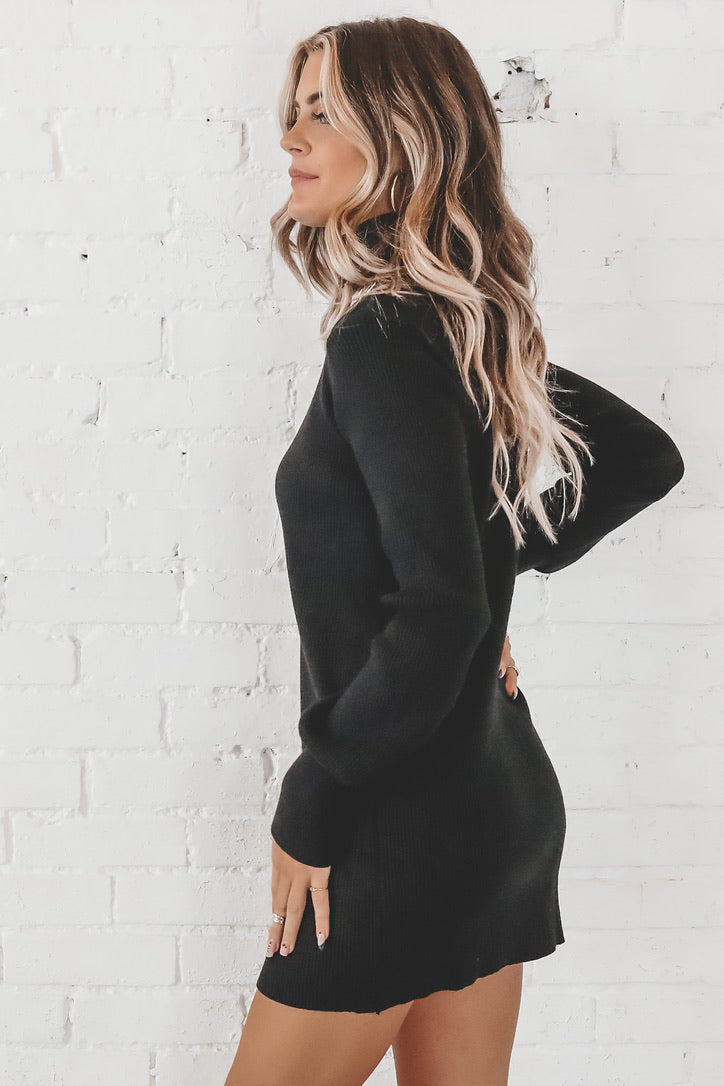 Don't Sweater It Black Knit Sweater Dress