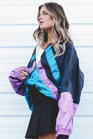 VINTAGE 90's Purple And Black Nike Windbreaker 162