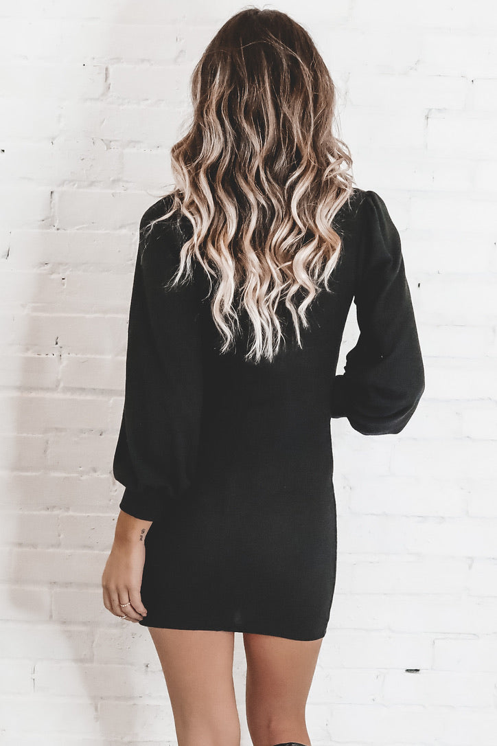 Good Going Black Long Sleeve Front Tie Dress
