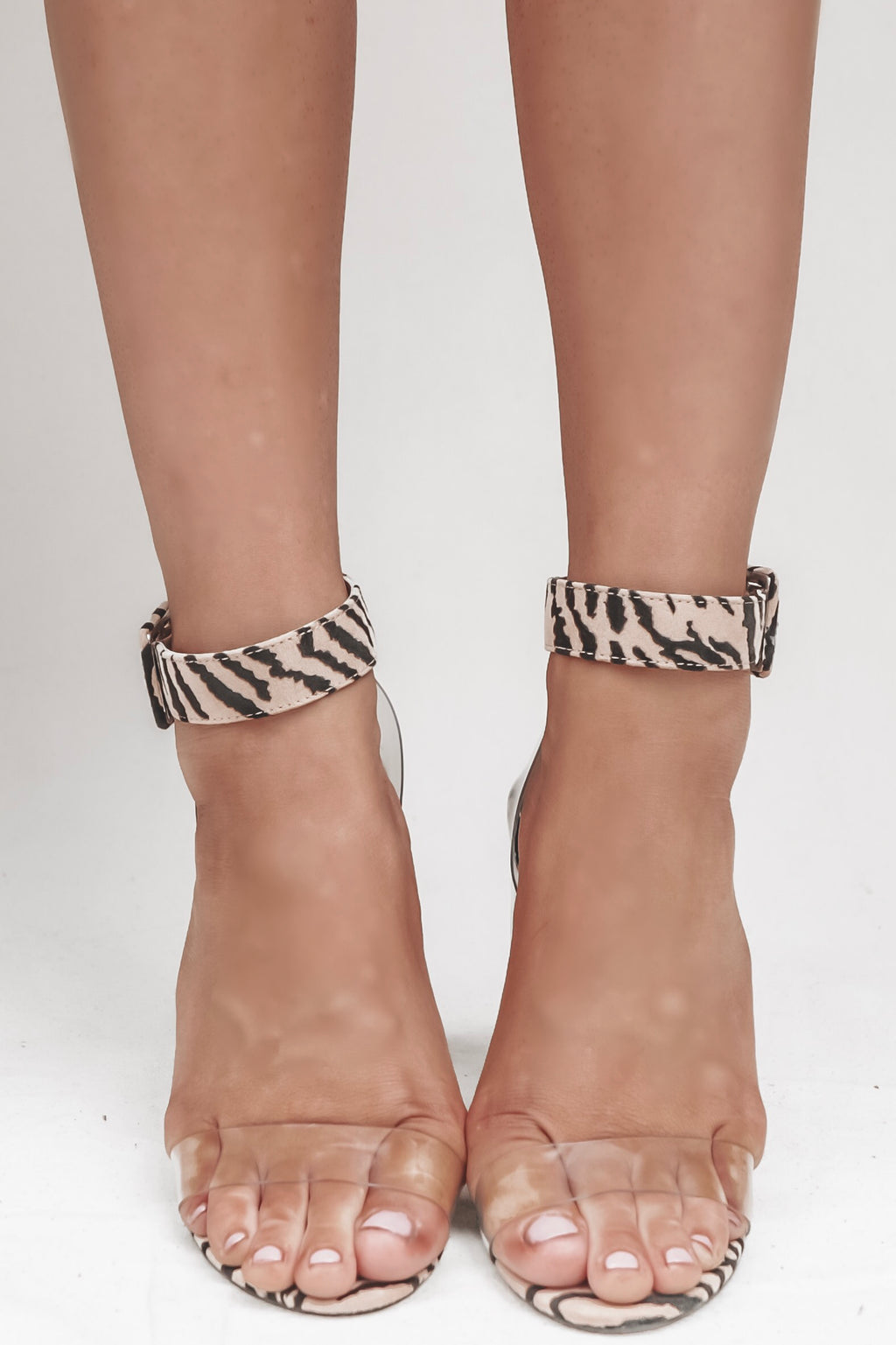 Go Get 'Em Tiger Striped Clear Heel