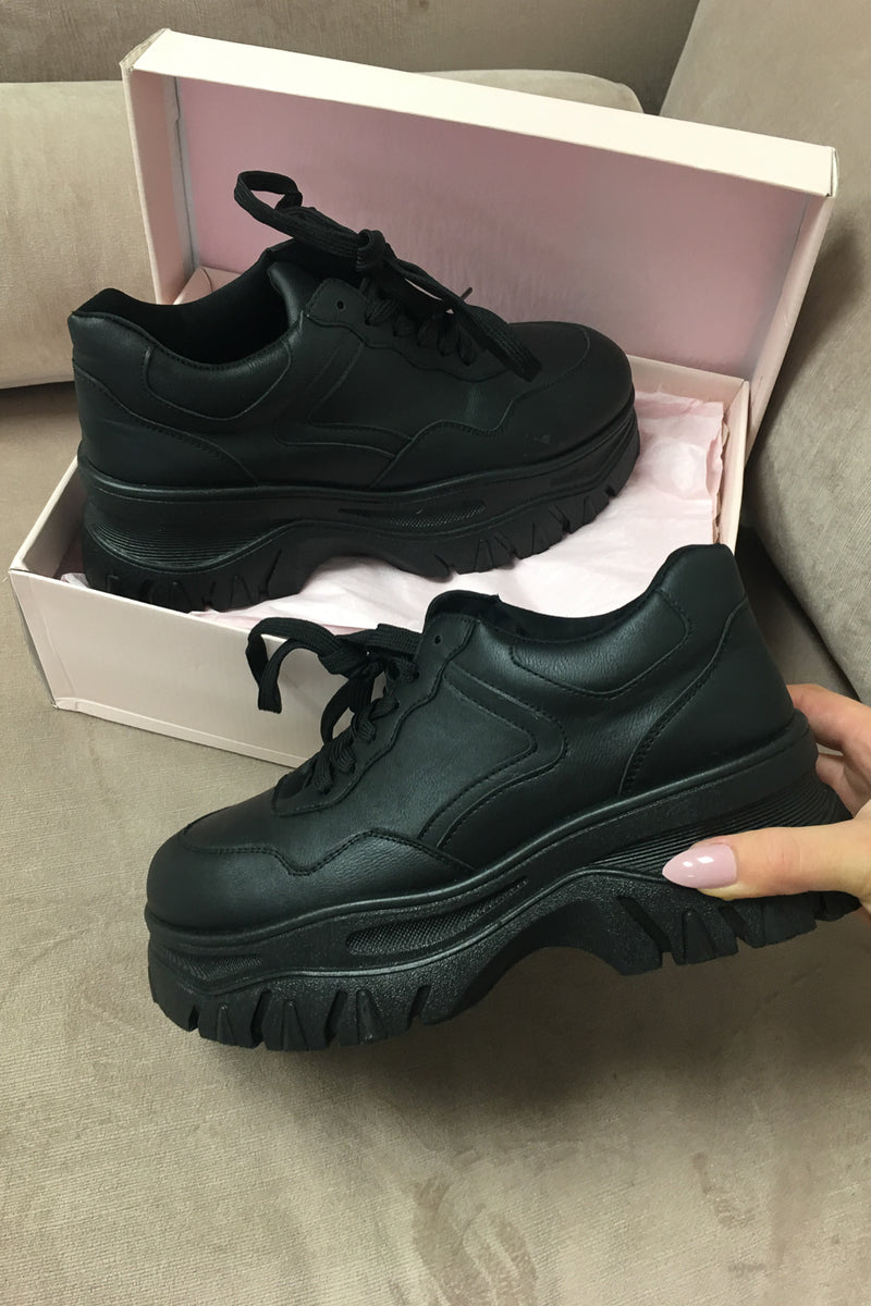 On the Rise Black Platform Chunky Sneakers