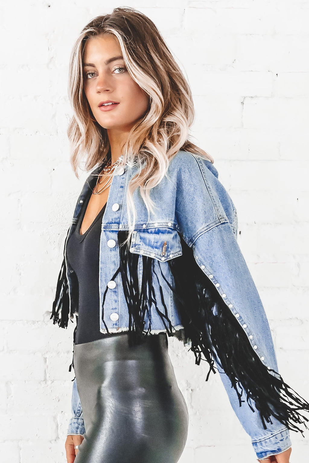 Back Of The Bar Fringe Denim Jacket