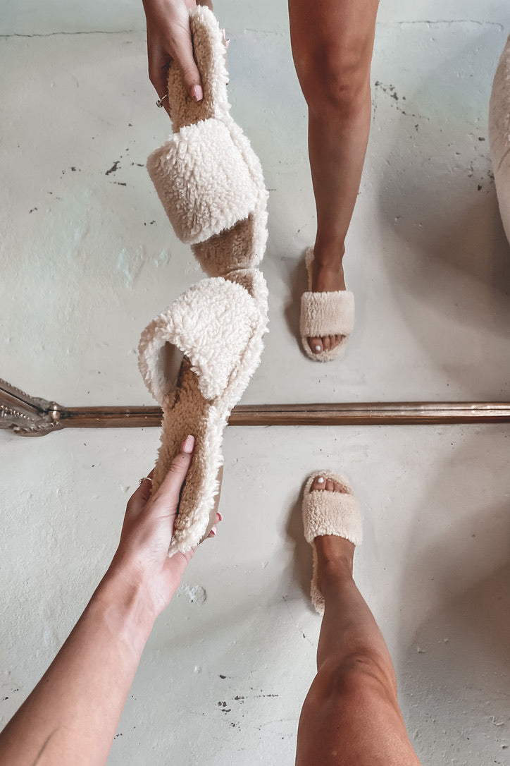 Furever Yours Beige Furry Slides