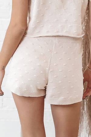 Dotted With A Heart Cream Knit Shorts