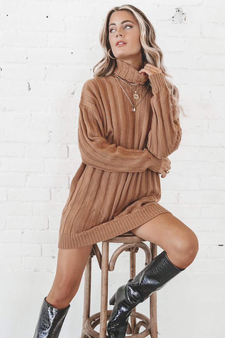 Knit To Be Camel Turtleneck Sweater Dress