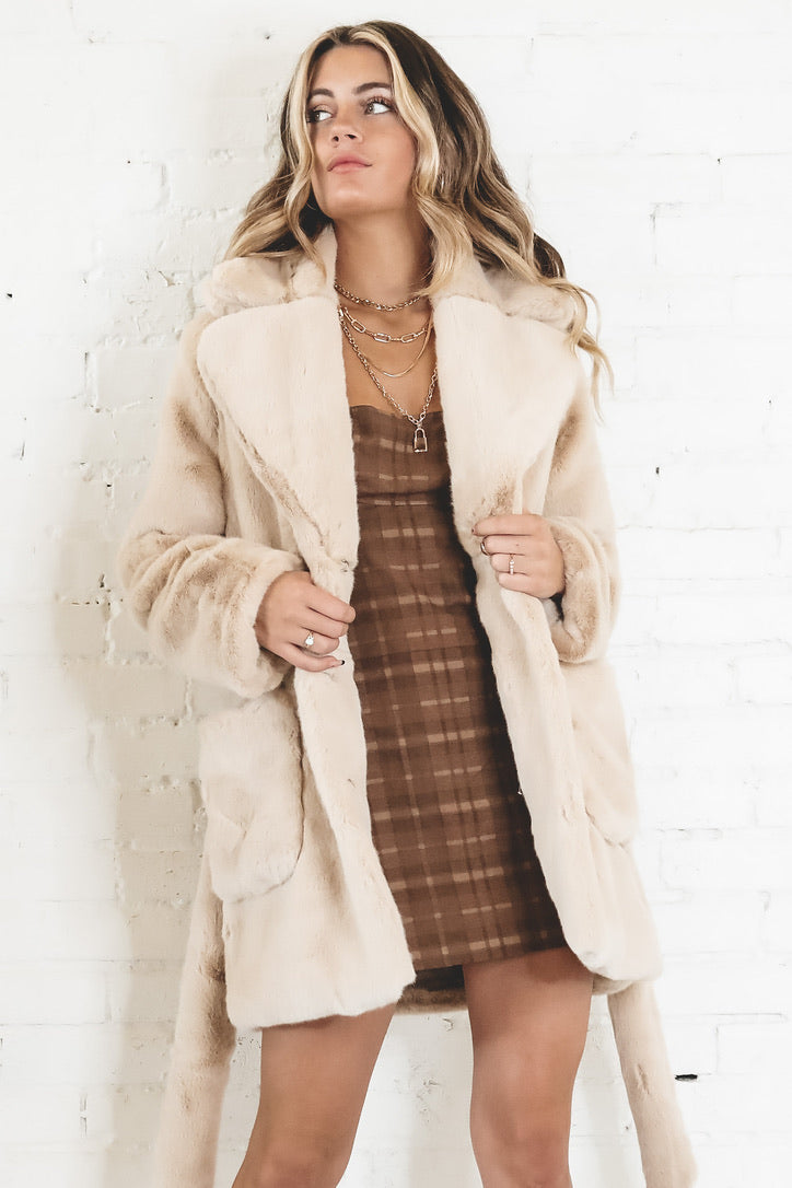 Big Time Beige Furry Trench Coat