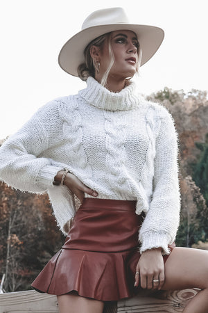 SAGE THE LABEL Cream Amanda Cable Knit Sweater
