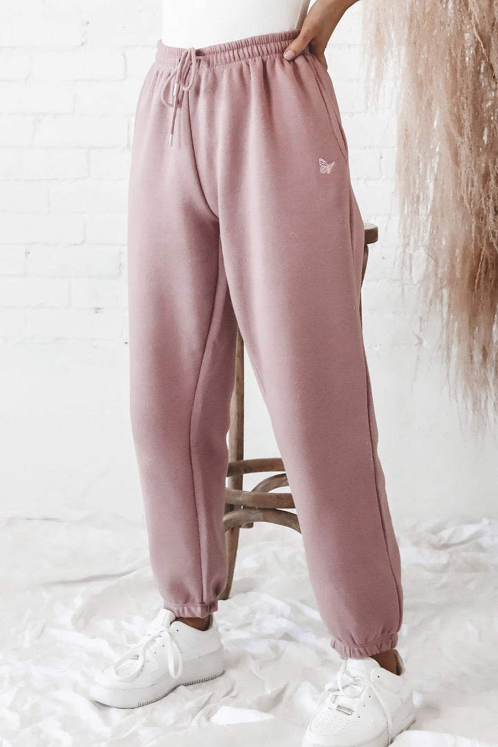 DAISY STREET Pink Embroidered Butterfly Jogger