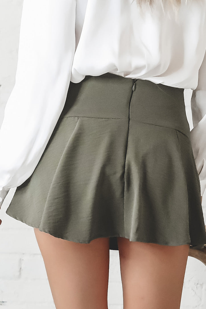 Sweet And Simple Olive Mini Skirt