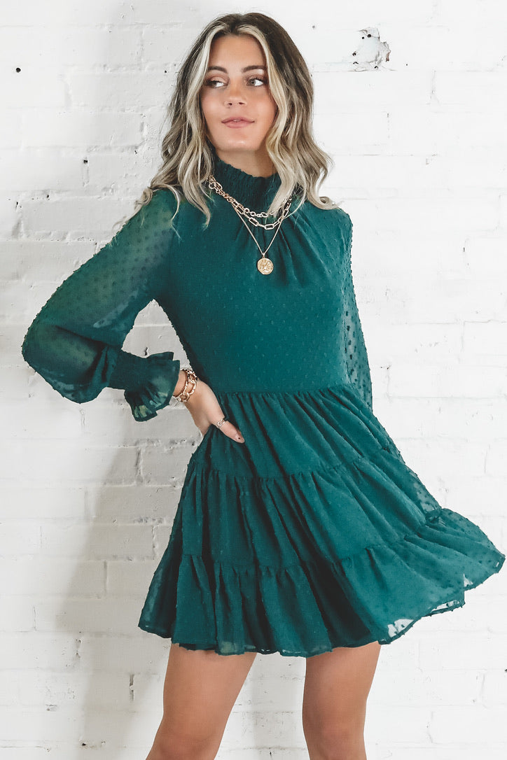 Holiday Green Flowy Dress
