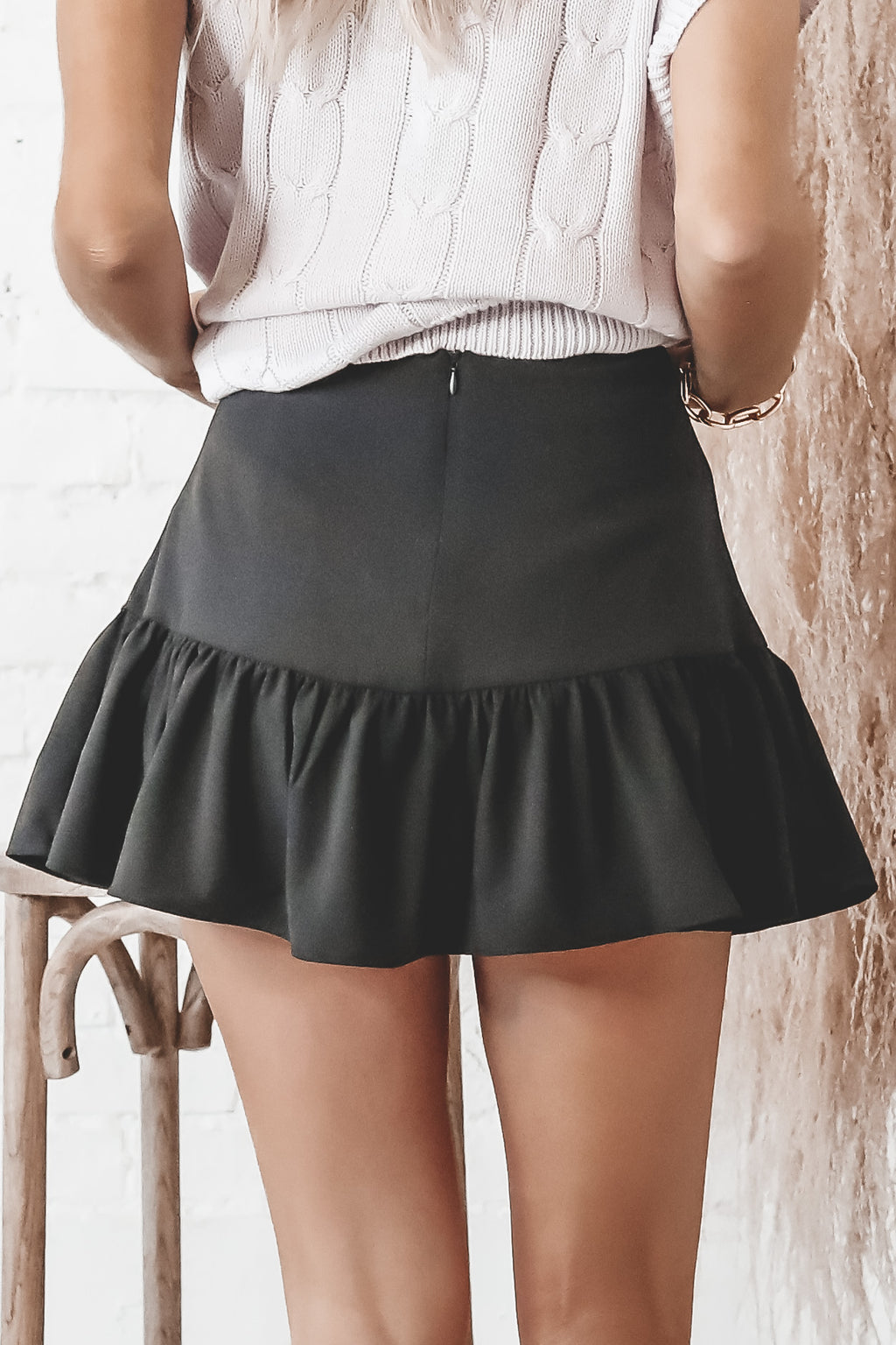 Wine On Me Black Ruffle Skort