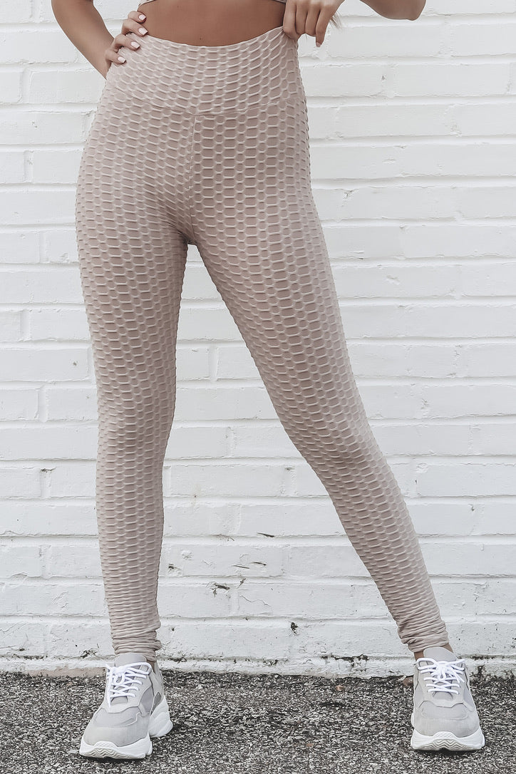 You Go Girl Mocha Textured Leggings