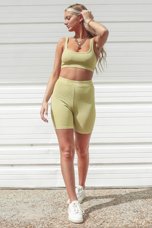 Workout Date Ribbed Citron Scoop Bra Top