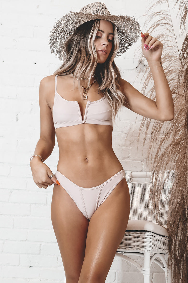 Very Hot Summer V Neck Blush Bikini Top