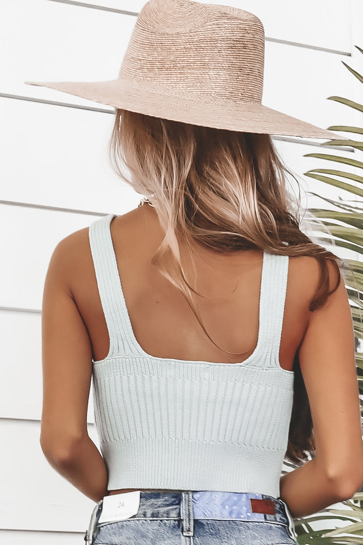 Night Sky Sage Blue Ribbed Crop Top