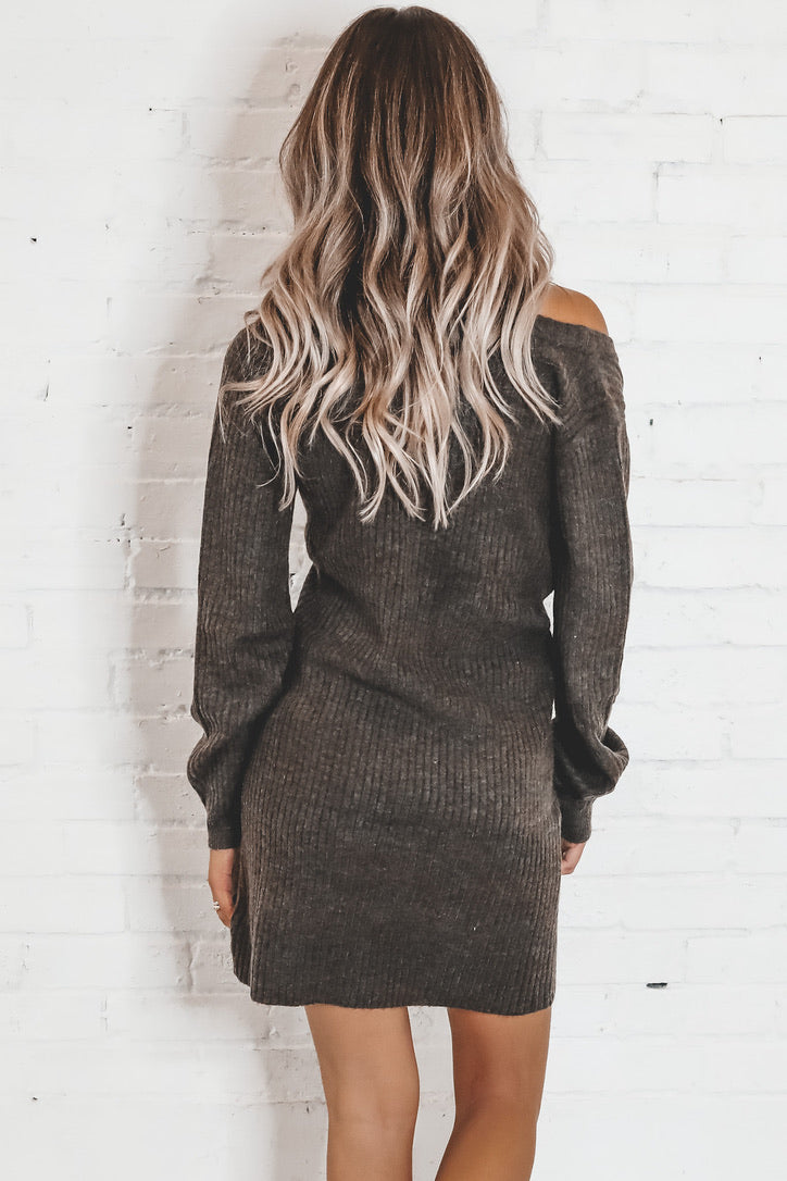 Warm And Cozy Mocha Sweater Dress