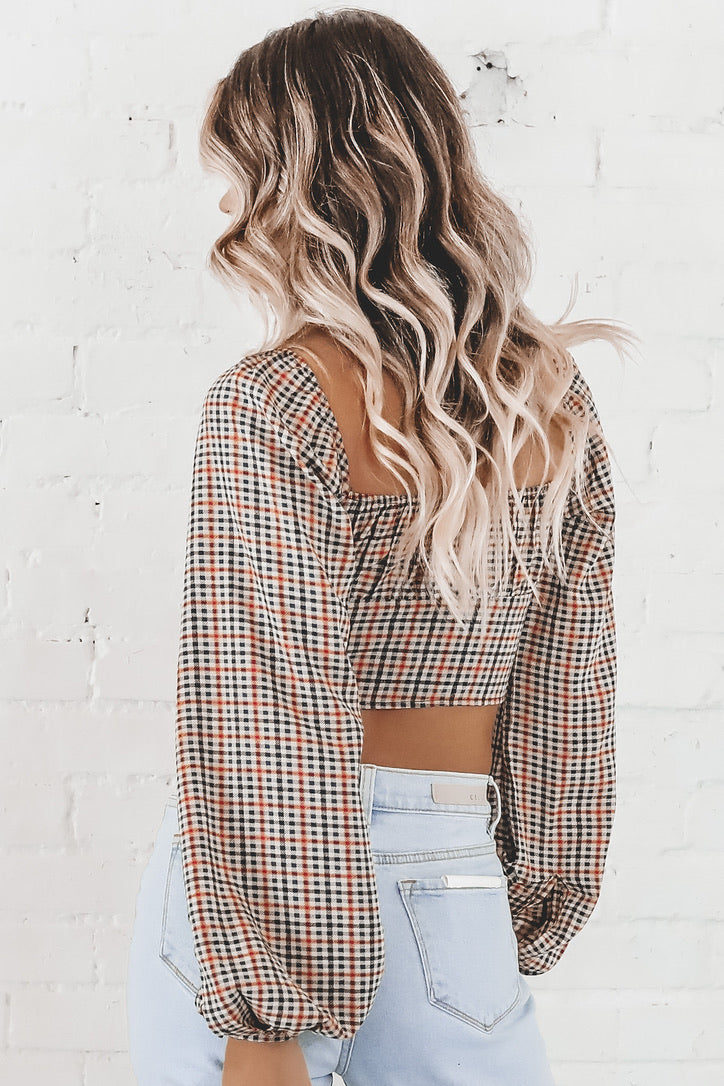 MOTEL Irene Crop Top In Country Check