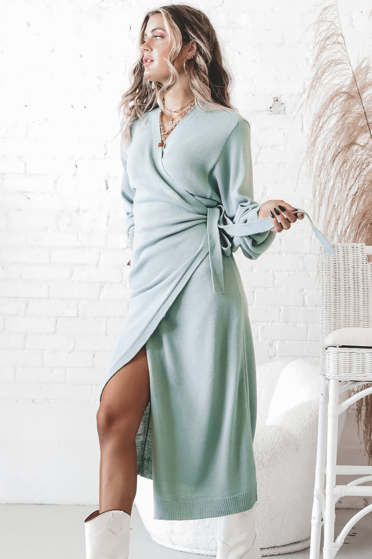 PRETTY LAVISH Pistachio Beau Knitted Wrap Dress