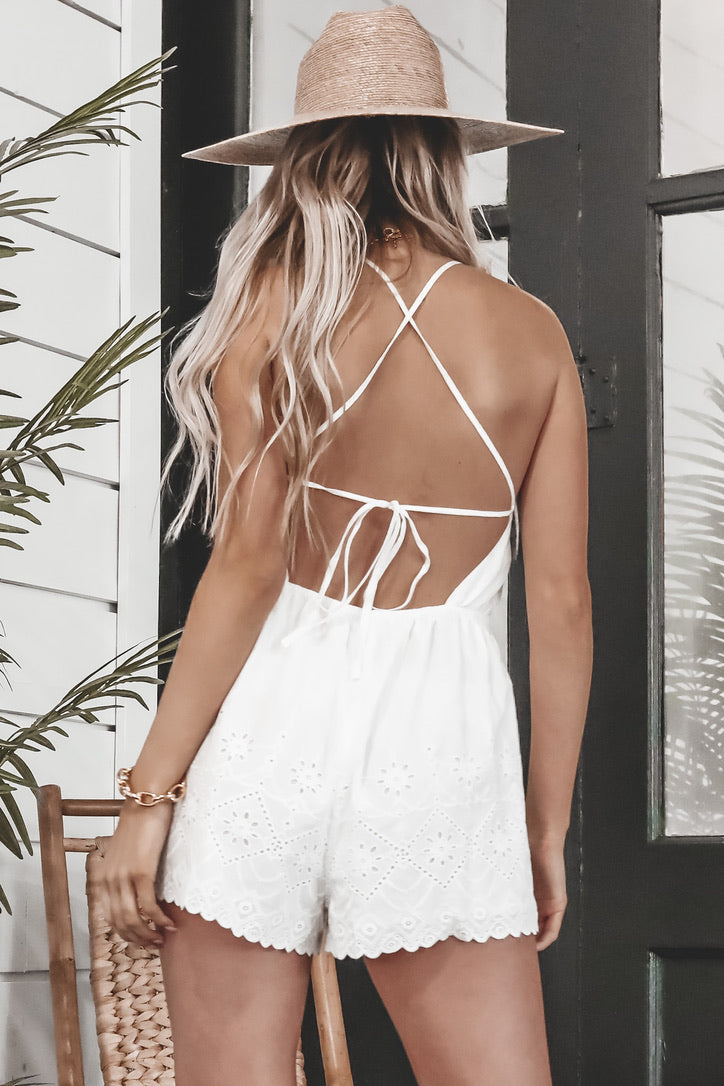 MINKPINK Psalms Shortall White Romper