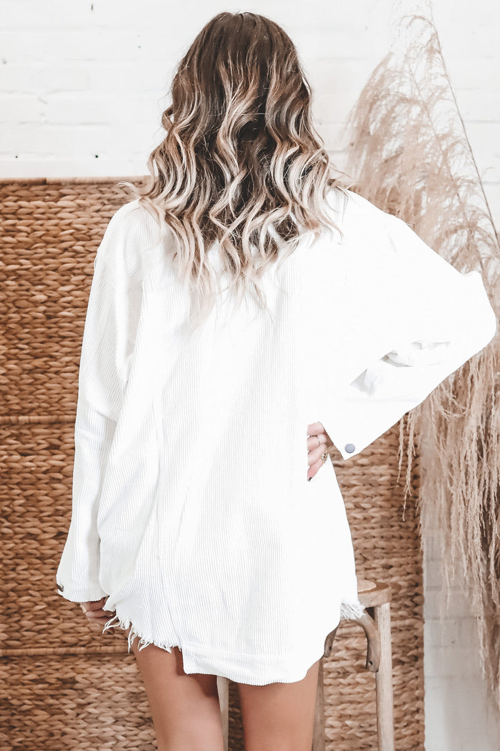 Ring Of Fire White Corduroy Distressed Hem Dress
