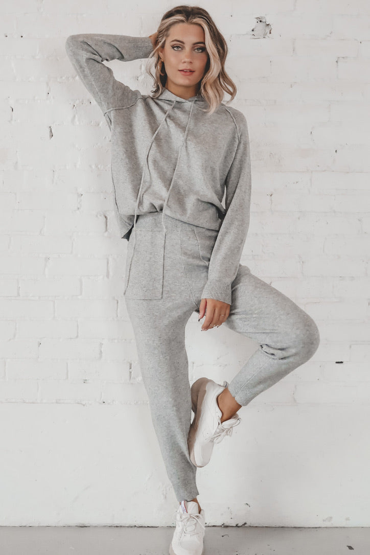 Don't Sweat It Heather Gray Jogger Set