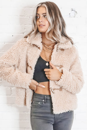 Warm My Heart Beige Fuzzy Jacket