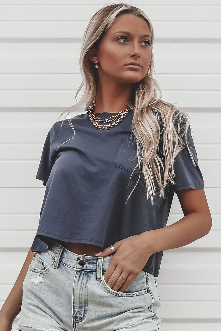 RICHER POORER Women's Blue Nights Pima Boxy Crop Tee