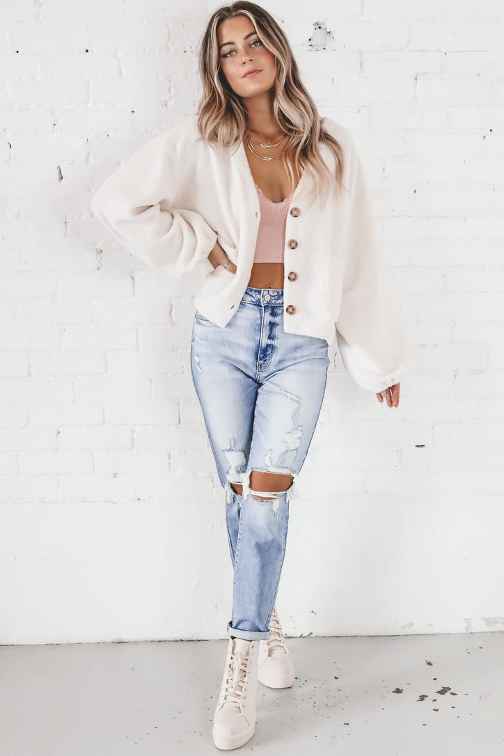 Honey Pie Cream Button Up Cardigan