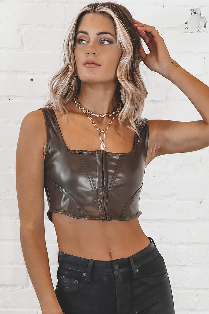 MOTEL Elci Dark Chocolate Corset Top