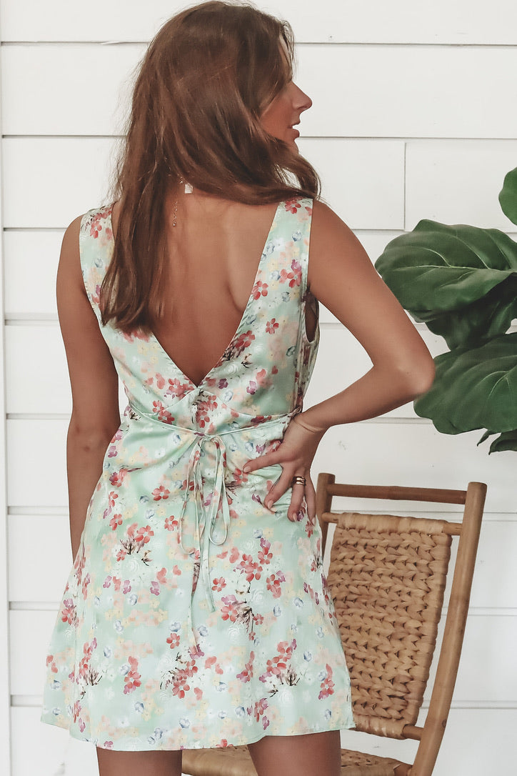 Plus One Pistachio Floral Mini Dress