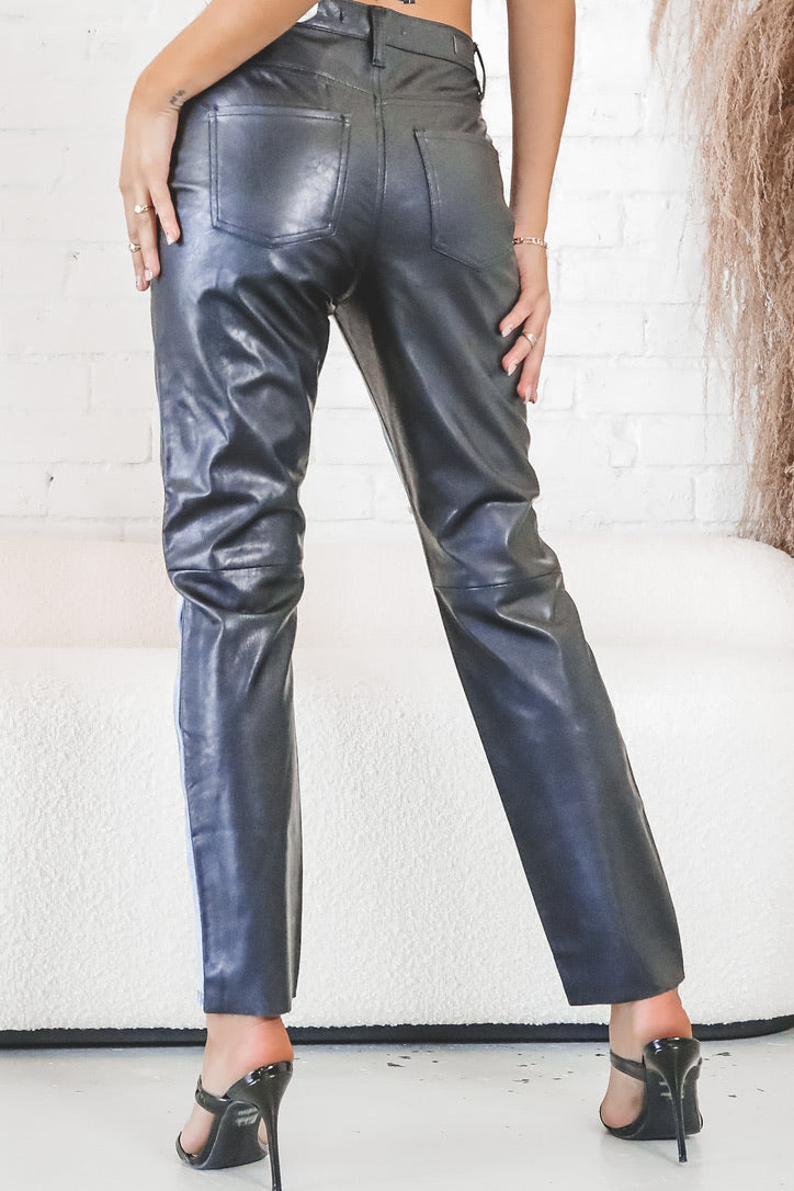 My Better Half Leather And Denim Pants