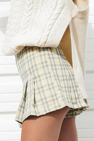 Little Pick Me Up Butter Plaid Mini Skort