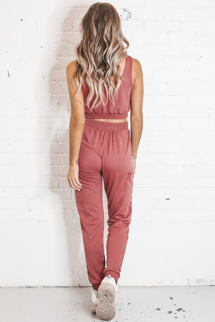 Wine Please Marsala Two Piece Jogger Set