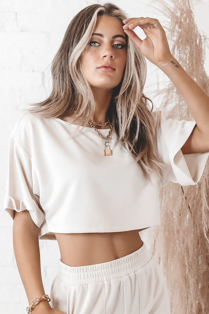 Over And Over Again Oversized Short Sleeve Crop Top