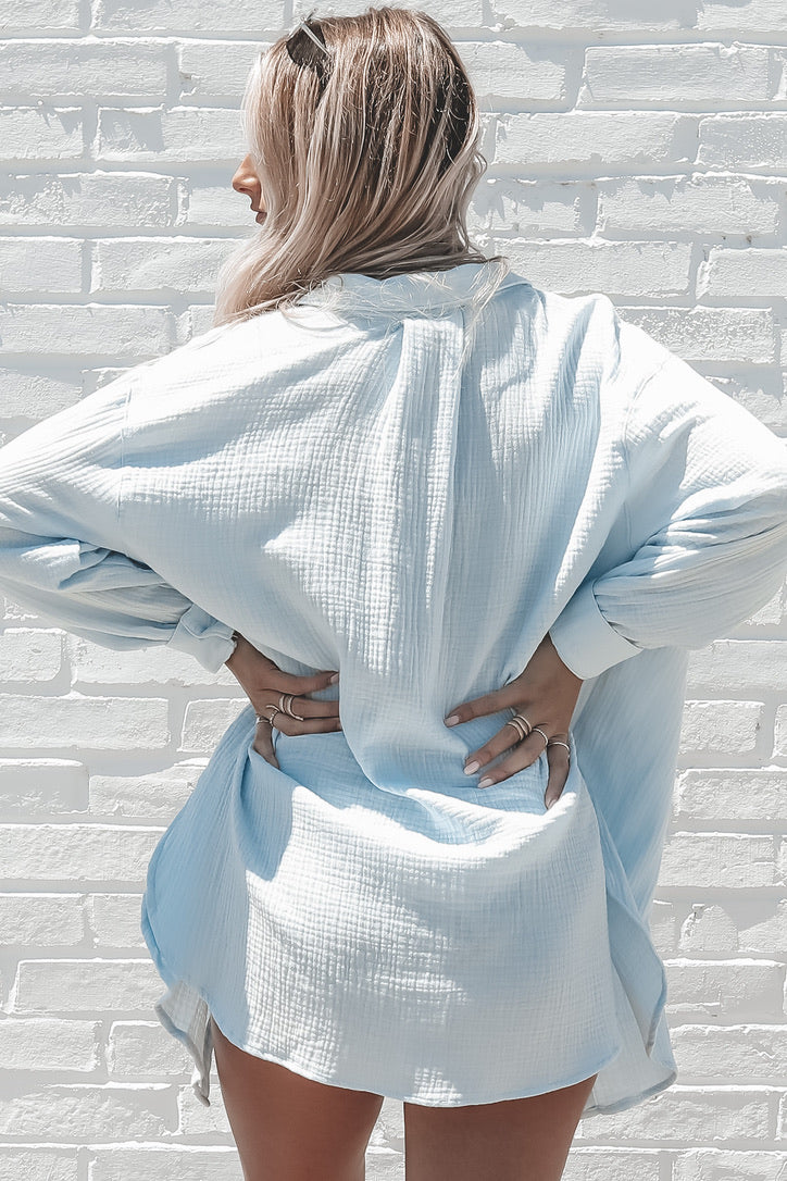 Swim To Me Light Blue Button Down Top