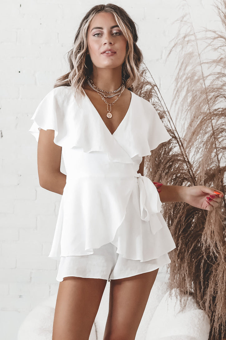 What You Do To Me White Wrap Romper