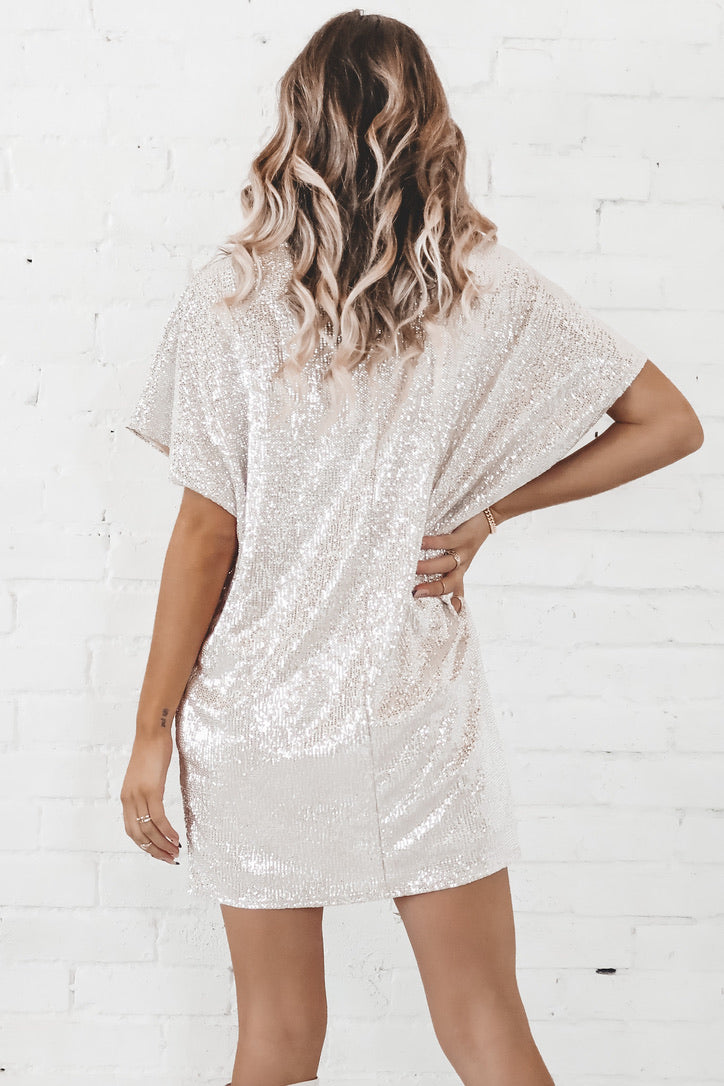 Watch Me Shine Metallic Taupe Tunic Dress