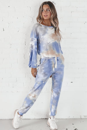 Call It Off Blue And Taupe Tie Dye Jogger Set