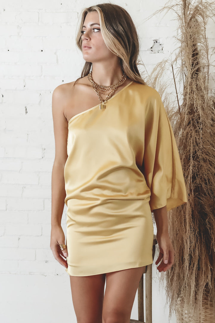 Butter Me Up Butter One Shoulder Satin Dress