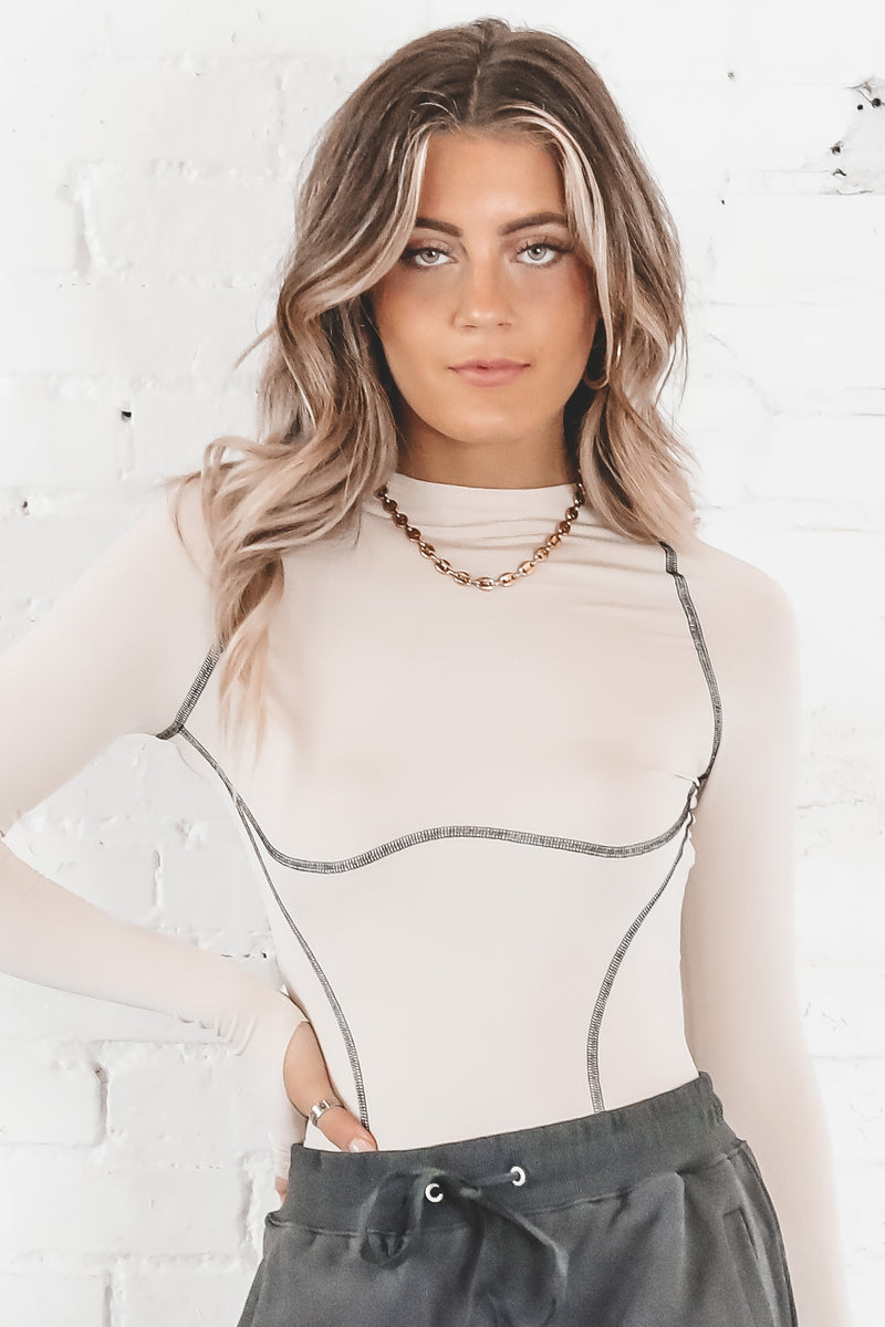 Turn The Tables Ivory Long Sleeve Bodysuit
