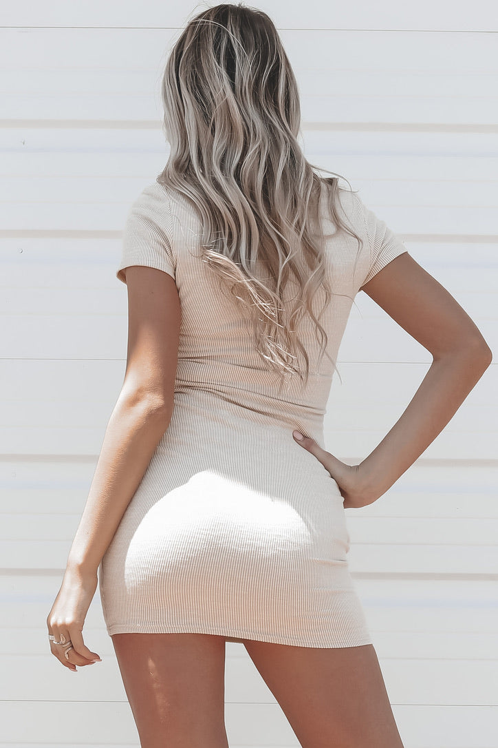 Out Of Your League Beige Ribbed Dress